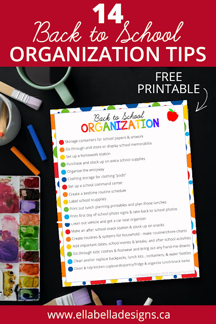 Back to School Organization Tips Printable Checklist