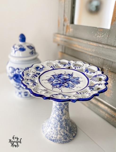 Portugal plate splatterware vase cake stand