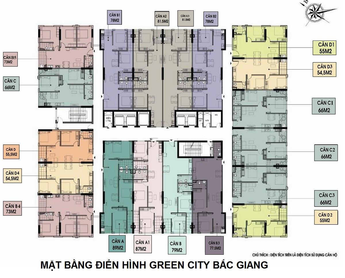 Mặt bằng điển hình Chung Cư Green City Bắc Giang