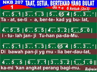 Lirik dan Not NKB 207 Taat, Setia, Bertekad Yang Bulat