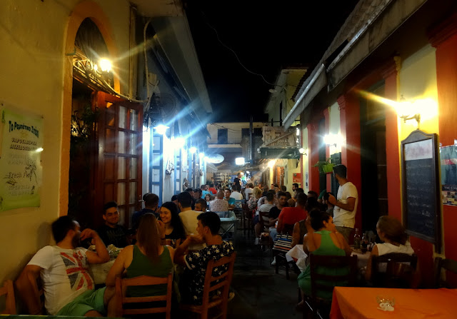 Night life scene in Preveza centrum, Greece