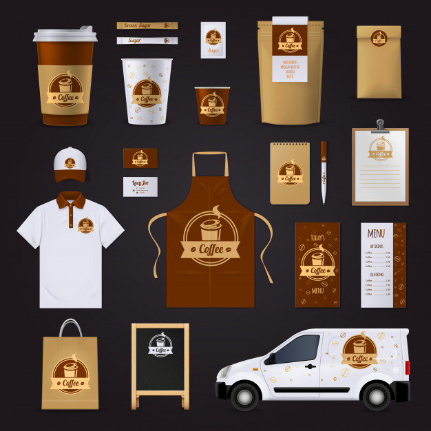 Coffee corporate identity design Free Vector