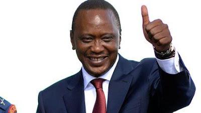 President Uhuru Kenyatta Raising his thumb finger