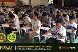 AFPSAT Result 16-18 Oct 2018 | Camp Lukban, Catbalogan, Samar