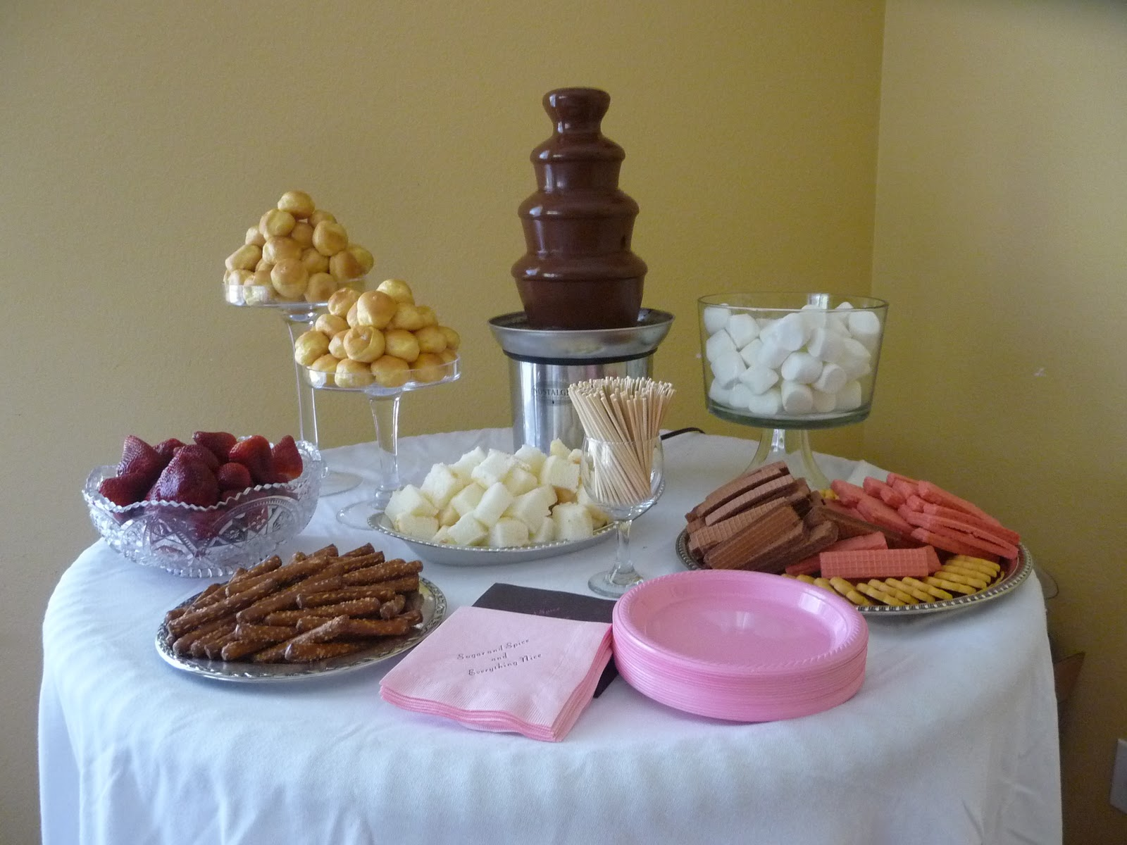 Yummy white chocolate fountain display at Sears After ... |Chocolate Fountain Ideas