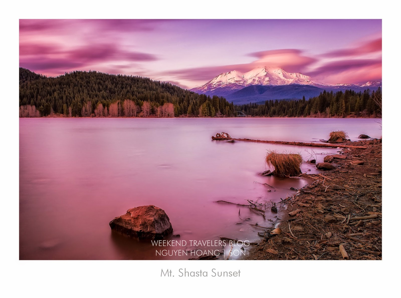 Sunset on Mt. Shasta and Lake Siskiyou - Shasta Cascade, Northern California