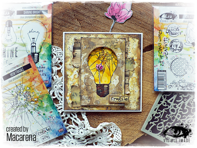 lightbulb stamp - fragile sentiment - card