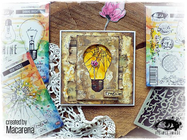 lightbulb stamp - fragile sentiment - card