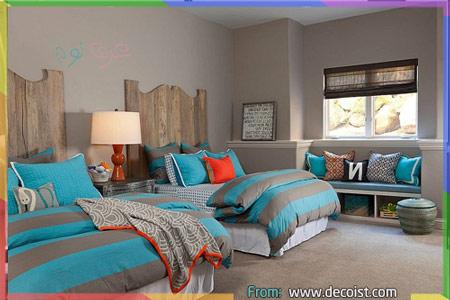 غرف نوم رمادي وازرق وبرتقالي