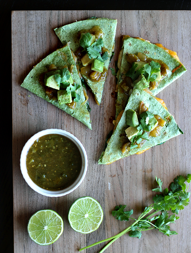 Salsa Verde, Avocado, + Spinach Quesadillas
