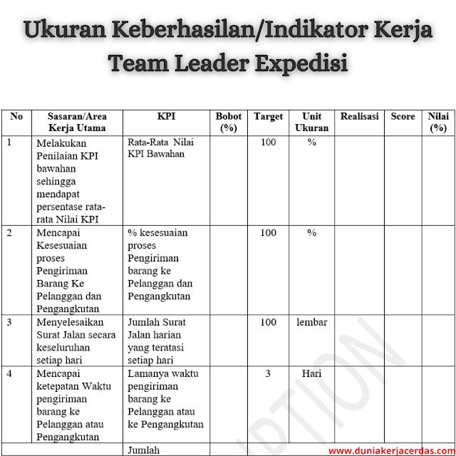 Job Description Team Leader Expedisi