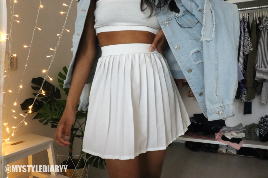 A two piece tennis skirt outfit
