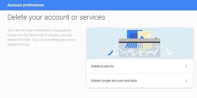 Delete Google accounts and data