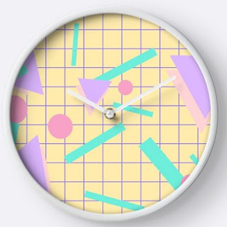 80s Shapes and Grid Pattern Wall Clock