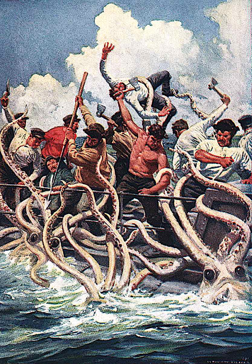an Anton Otto Fischer illustration of men in a boat fighting off giant octopus tentacles, Jules Verne