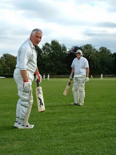 Here we are about to open the batting, our combined ages more than the opposition total. I think it was Helmsley
