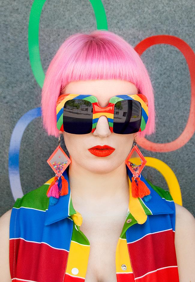 Agatha Ruiz de la prada, sunglasses, pink hair