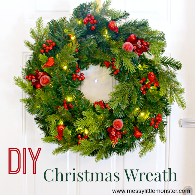 DIY Christmas wreath craft.  Use a shop bough wreath and add decorations to make it your own. An easy way to create a personal wreath in minutes!