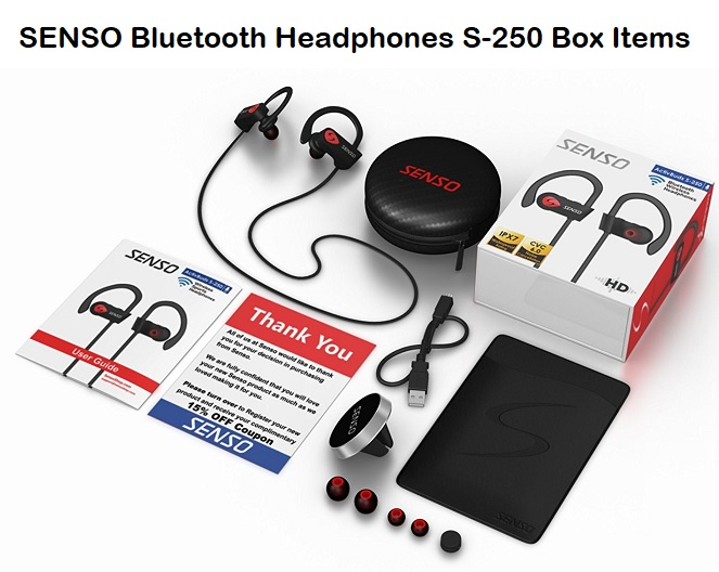 SENSO Bluetooth Headphones S-250 Box Items