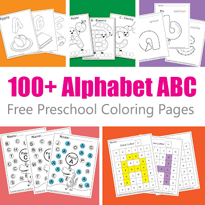 all free alphabet ABC preschool coloring pages to print