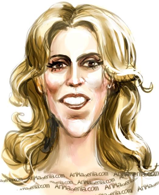 Celine Dion caricature cartoon. Portrait drawing by caricaturist Artmagenta