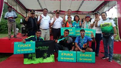 Hamdan S Sayuti dan Helda Napitupulu Juara 1 Ultra Pria dan Wanita Di Minang Geopark Run 2019