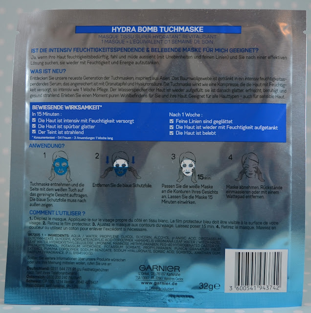 Garnier Skin Active Hydra Bomb Tuchmaske Rückseite