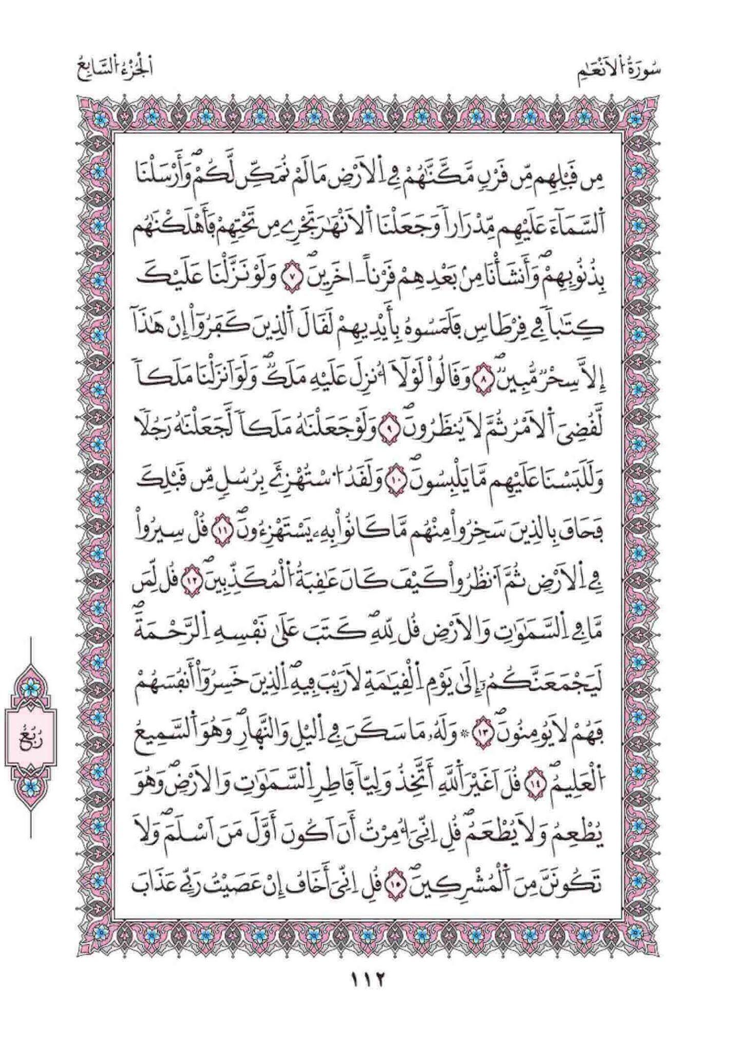 تحميل سورة الأنعام برواية ورش عن نافع مكتوبة الرسم العثماني pdf
