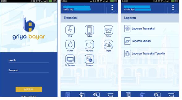 Tampilan Aplikasi Android Griya Bayar mobile