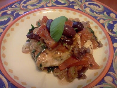 Chicken with Tomatores & Olives (Easy)