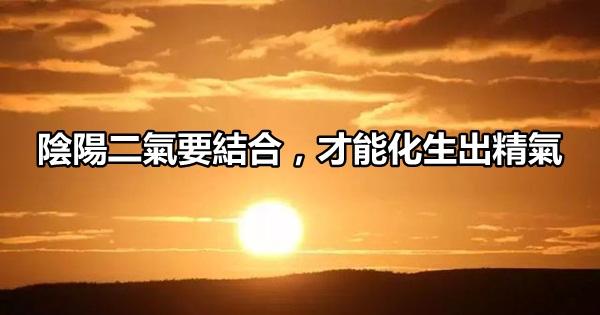 陰陽二氣要結合,才能化生出精氣