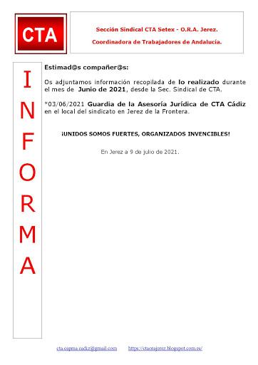 C.T.A. INFORMA, LO REALIZADO EN JUNIO DE 2021