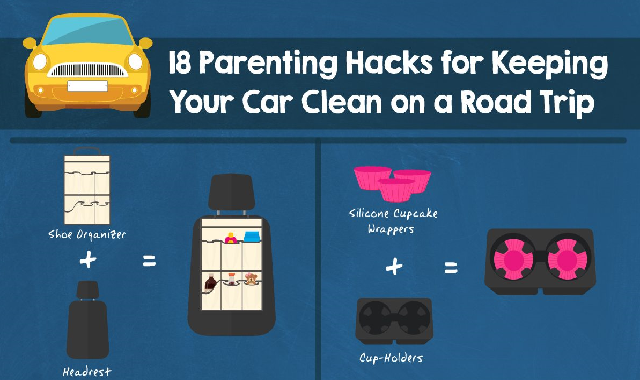 18 Parenting Hacks For Keeping Your Car Clean On A Road Trip #infographic