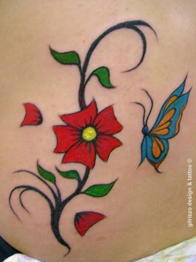 Flor vermelha com Azul-Pequena Tatuagem de Borboleta