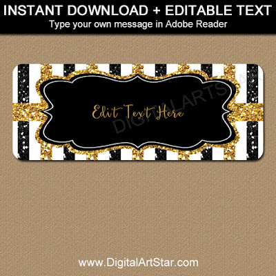 50th birthday address labels - black and gold glitter - editable template
