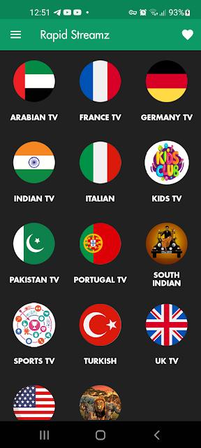 تحميل تطبيق RAPID STREAMZ apk لمشاهدة القنوات العربية و العالمية