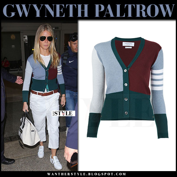Gwyneth Paltrow in grey and green knit thom browne cardigan, white cropped pants and white studded sneakers valentino rockstud what she wore