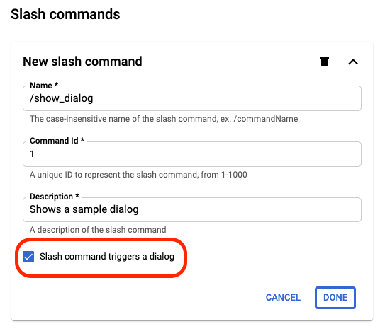 Example of enabling the slash command triggers a dialog setting