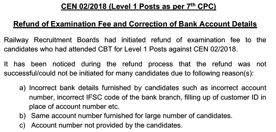 RRB Fee Refund Notice