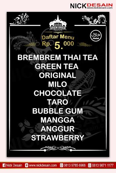 Contoh Desain List Menu / Buku Menu/ Daftar Menu Thai Tea Warna Hitam | Percetakan Murah Tanjungbalai