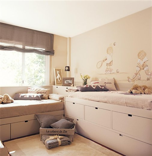 Casa tr s chic quartos para irm os for Dormitorios juveniles dos camas en l