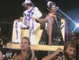 WWF / WWE - Wrestlemania 7: Macho King Randy Savage and Sensational Queen Sherri were carried to the ring by WWF jobbers