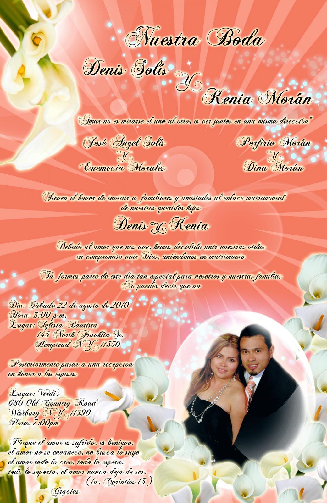 Tarjeta de invitaci n para boda con cartuchos calla lily - Disenos tarjetas de boda ...