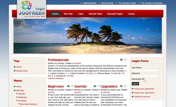 Free Travel Blue Red Flash Joomla Template