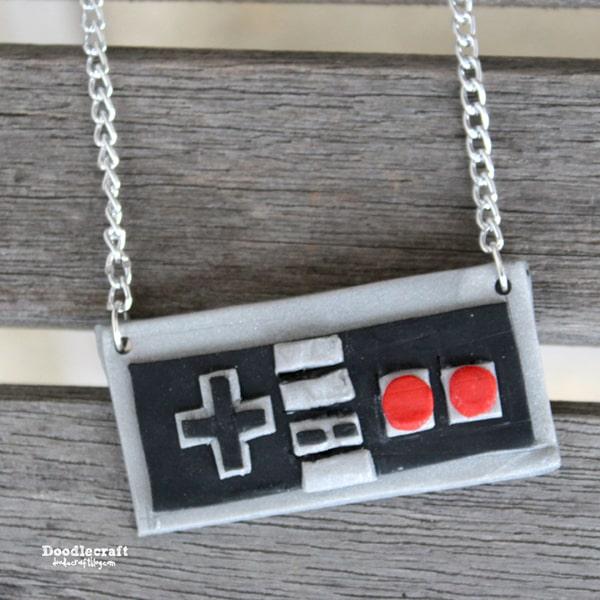 Nintendo video game controller clay pendant necklace diy