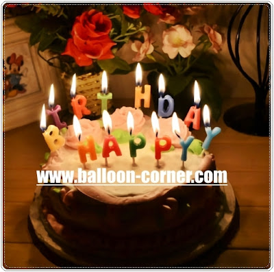 Lilin Ultah Motif HAPPY BIRTHDAY Polos