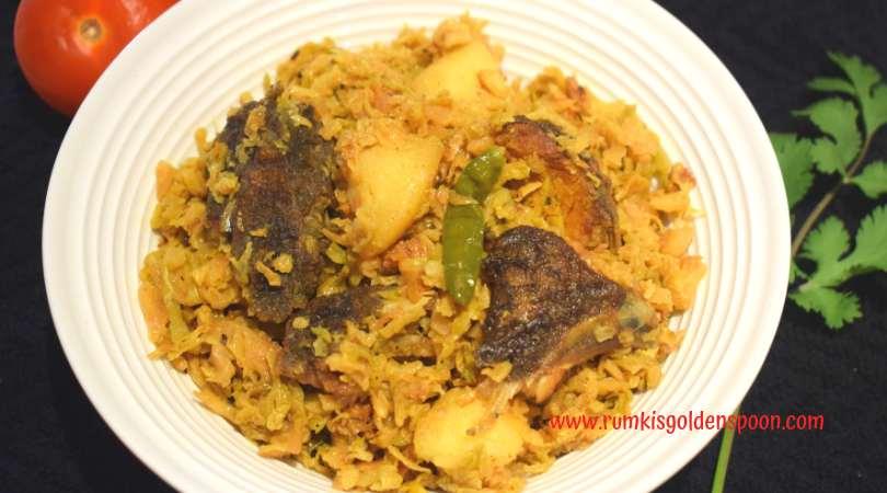 Ilish Macher Matha Diye Bandhakopi, Cabbage with Hilsa Fish Head, Ilish Macher Matha Diye Badhakopi, Cabbage recipes, Indian recipes, Bengali recipes, authentic recipes, Cabbage curry with Hilsa Fish Head, Rumki's Golden Spoon