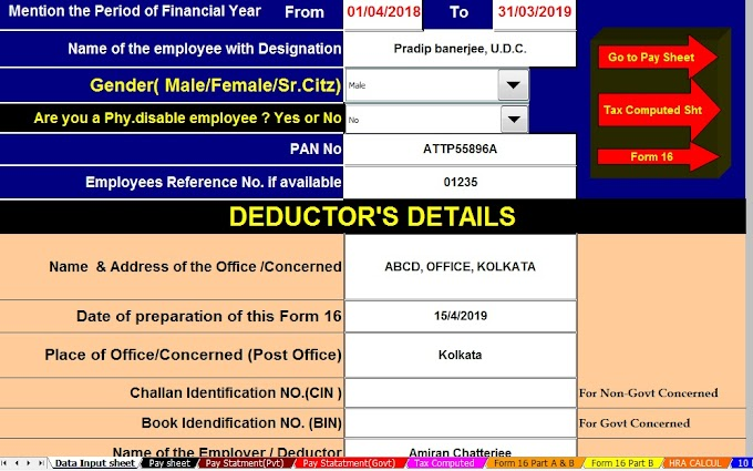 Download Automated All in One TDS on Salary for Govt & Non-Govt Employees for F.Y.2018-19