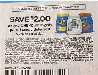 "USE $2/1 All Mighty Pacs Laundry Detergent Coupon from ""RetailMeNot"" insert week of 1/3/20."