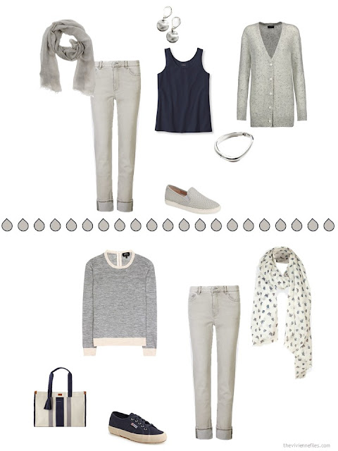 two ways to wear warm grey jeans with navy